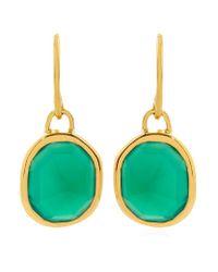 Monica Vinader | Metallic Green Onyx Siren Wire Earrings | Lyst