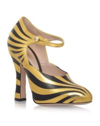 Gucci - Multicolor Lesley Stripe Mary Jane Pumps - Lyst