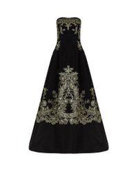 Oscar de la Renta | Black Embroidered Strapless Evening Gown | Lyst