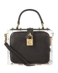 Dolce & Gabbana | Black Plexiglass Padlock Top Handle Bag | Lyst