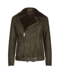 AllSaints | Green Brennand Shearling Biker Jacket for Men | Lyst