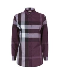 Burberry - Purple Cotton Check Shirt - Lyst