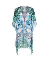 Elizabeth Hurley Beach | Blue Printed V-neck Short Kaftan | Lyst