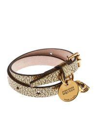 Alexander McQueen - Brown Double Wrap Leather Skull Bracelet - Lyst