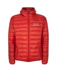Armani | Red Hooded Quilted Technical Jacket for Men | Lyst