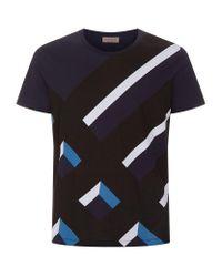 Burberry - Black 3d Exploded Check T-shirt for Men - Lyst