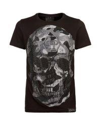 Philipp Plein   Black Swarovski Camo Skull T-shirt for Men   Lyst