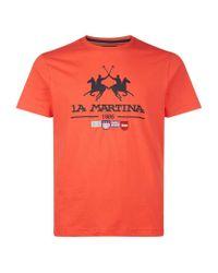 La Martina | Orange Large Logo T-shirt for Men | Lyst