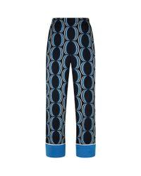 St. John - Blue Geometric Wide-leg Trousers - Lyst