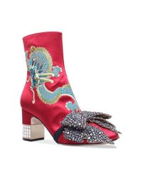 Gucci Candy Dragon Embroidered Ankle Boots 75