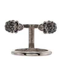 Alexander McQueen - Metallic Twin Band Skull Ring - Lyst