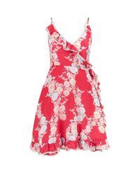 Athena Procopiou - Red Heartbeats Floral Wrap Dress - Lyst