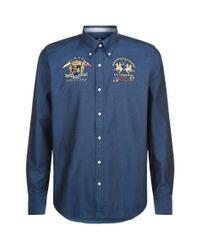La Martina - Blue Oxford Shirt for Men - Lyst