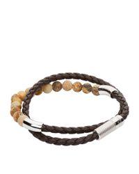 Tateossian - Brown Leather Beaded Wrap Bracelet - Lyst