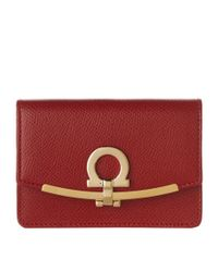 Ferragamo - Red Gancini Zip Around Wallet - Lyst