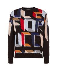 Fiorucci Multicolor Patterned Crew Neck Sweater for men