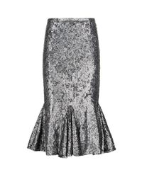 Pinko - Gray Sequin Skirt - Lyst