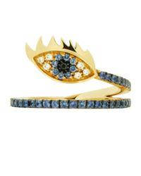 Delfina Delettrez - Blue Marry Me Eye Yellow Gold Ring - Lyst