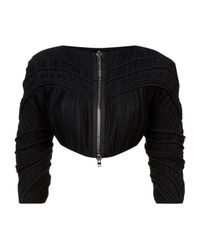 Givenchy - Black Pleated Cropped Jacket - Lyst