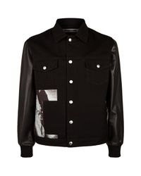 McQ - Black Leather Sleeve Graphic Panel Denim Jacket for Men - Lyst