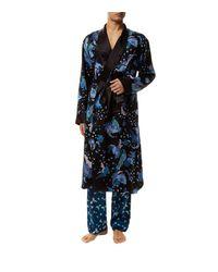 Meng - Blue Floral Silk Dressing Gown - Lyst