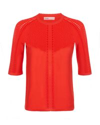 Maje | Red Half Sleeve Pointelle Jumper | Lyst