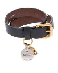 Alexander McQueen | Black Embellished Double Wrap Bracelet | Lyst