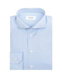 Eton of Sweden - Blue Blurred Check Formal Shirt for Men - Lyst