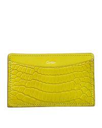 Cartier - Yellow C De Crocodile Card Holder - Lyst