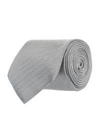 Eton of Sweden Gray Diagonal Herringbone Tie for men