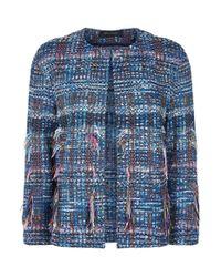 St. John - Blue Boucl Fringed Jacket - Lyst