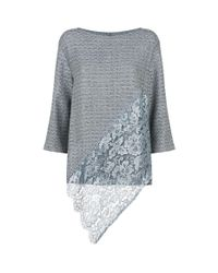 St. John - Gray Sequin Embellished Asymmetric Sweater - Lyst