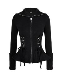 Alexander McQueen - Black Knitted Zip-up Cardigan - Lyst