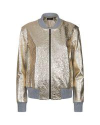 St. John - Metallic Nappa Leather Bomber Jacket - Lyst