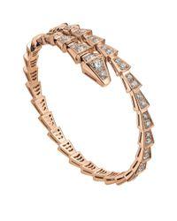 BVLGARI - Metallic Slim Rose Gold And Diamond Serpenti Bracelet - Lyst