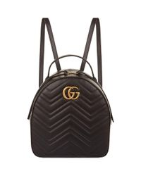 7914ad5bae53 Gucci Marmont Chevron Backpack in Black - Lyst