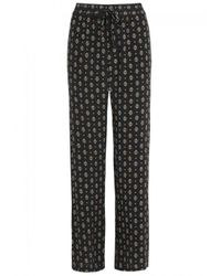 Joie - Black Florencia Printed Silk Trousers - Lyst