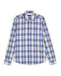 BOSS Black - Blue Lance Checked Cotton Shirt for Men - Lyst