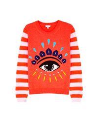 KENZO - Red Eye-appliquéd Cotton Jumper - Lyst