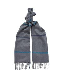 Chester Barrie - Gray Lambswool Check Scarf for Men - Lyst