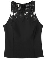 Noir Sachin & Babi | Thomas Black Lace-trimmed Crepe Top | Lyst