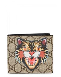 Gucci - Natural Angry Cat Gg Supreme Wallet - Lyst