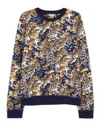 KENZO - Blue Flying Tiger Printed Cotton Sweatshirt - Size Xl - Lyst