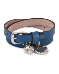 Alexander McQueen | Blue Skull-charm Leather Wrap Bracelet | Lyst
