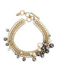 Lanvin   Metallic Faux Pearl Gold Tone Necklace   Lyst