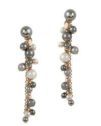 Lanvin | Metallic Faux Pearl Gold Tone Earrings | Lyst