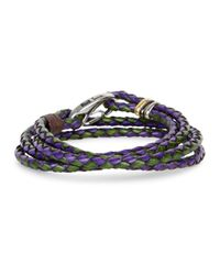 Paul Smith | Purple And Green Braided Leather Wrap Bracelet | Lyst
