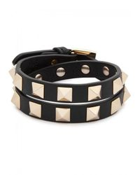 Valentino - Black Rockstud Small Leather Wrap Bracelet - Lyst