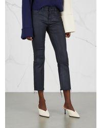 DL1961 Lara Dark Blue Cropped Coated Jeans
