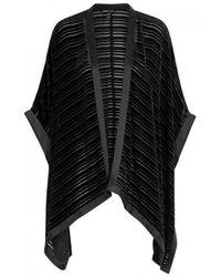 Eileen Fisher | Black Striped-devoré Velvet Poncho | Lyst